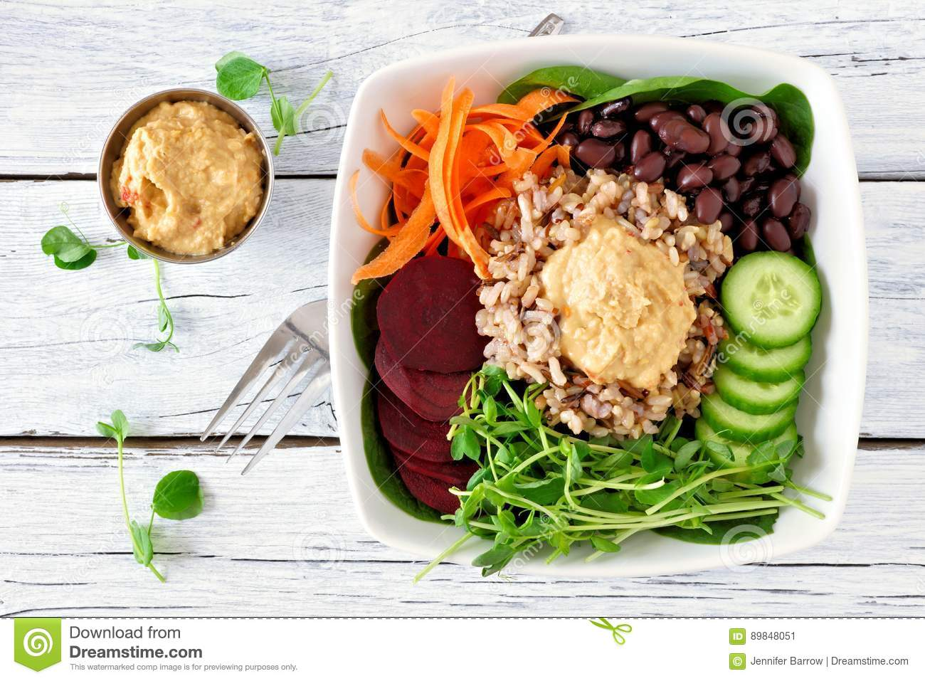 Healthy nourishment bowl on a white wood background