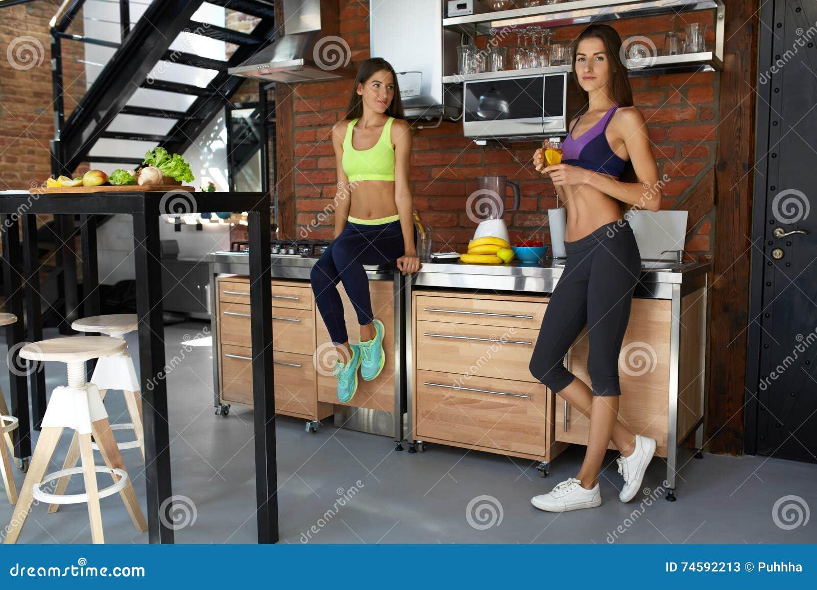 Healthy Nutrition. Fitness Women In Sportswear Drinking ...