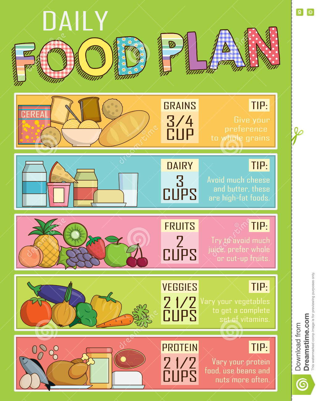 Healthy Daily Nutrition Food Plan Stock Vector - Image: 77596403