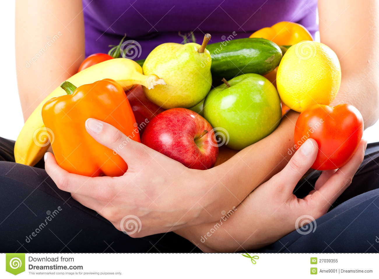 Healthy nutrition - young woman with fruits