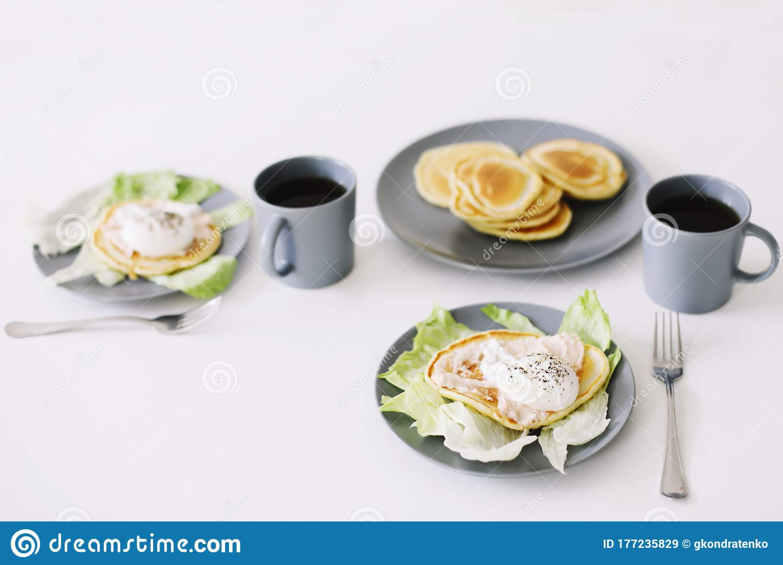 Healthy Nutritious Tasty Breakfast Pancakes Poached Egg On Ceramic Plate And Coffee Cup Table Setting Food Photo Good Morning Stock Image Image Of Coffee Health 177235829