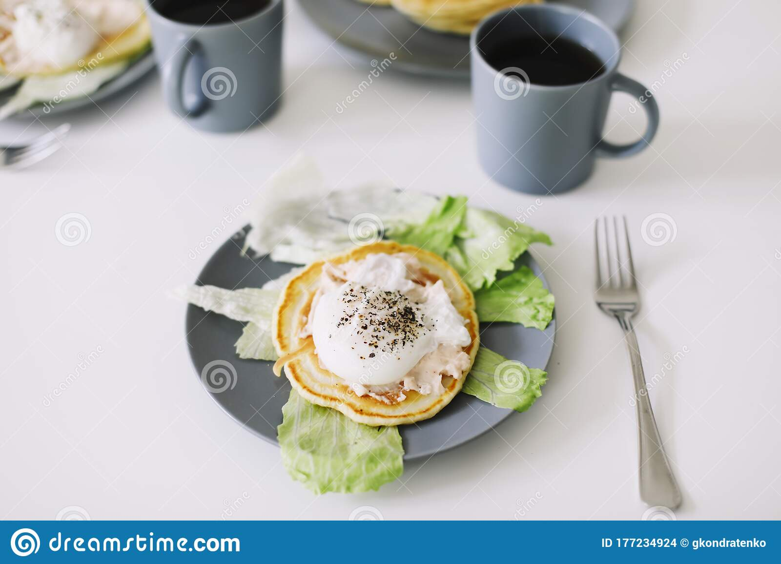 Healthy Nutritious Tasty Breakfast Pancakes Poached Egg On Ceramic Plate And Coffee Cup Table Setting Food Photo Good Morning Stock Photo Image Of Food Fresh 177234924