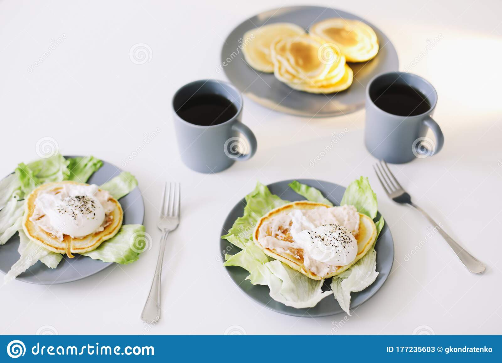 Healthy Nutritious Tasty Breakfast Pancakes Poached Egg On Ceramic Plate And Coffee Cup Table Setting Food Photo Good Morning Stock Image Image Of Foodie Lunch 177235603