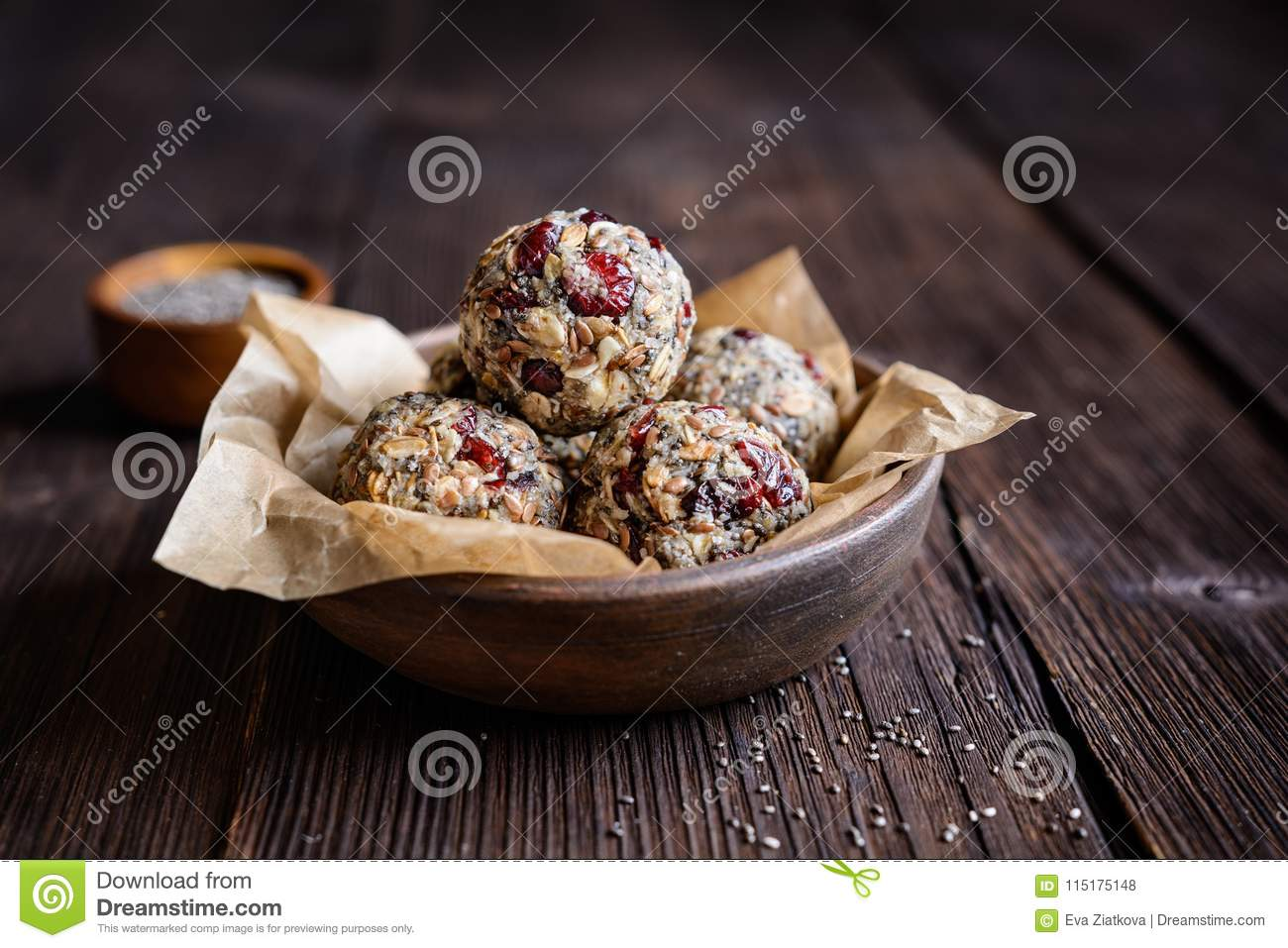 Healthy oatmeal balls with chia seeds, cranberries, coconut, flax seeds and honey