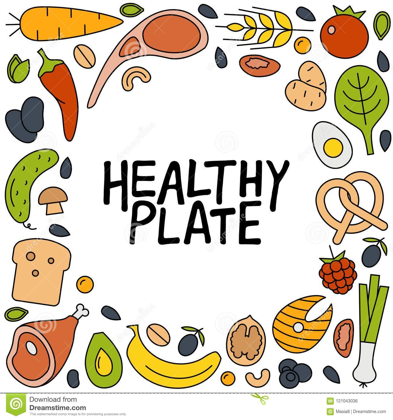 Healthy Plate Hand Drawn Lettering Stock Illustration Illustration Of Graphic Concept 121043036
