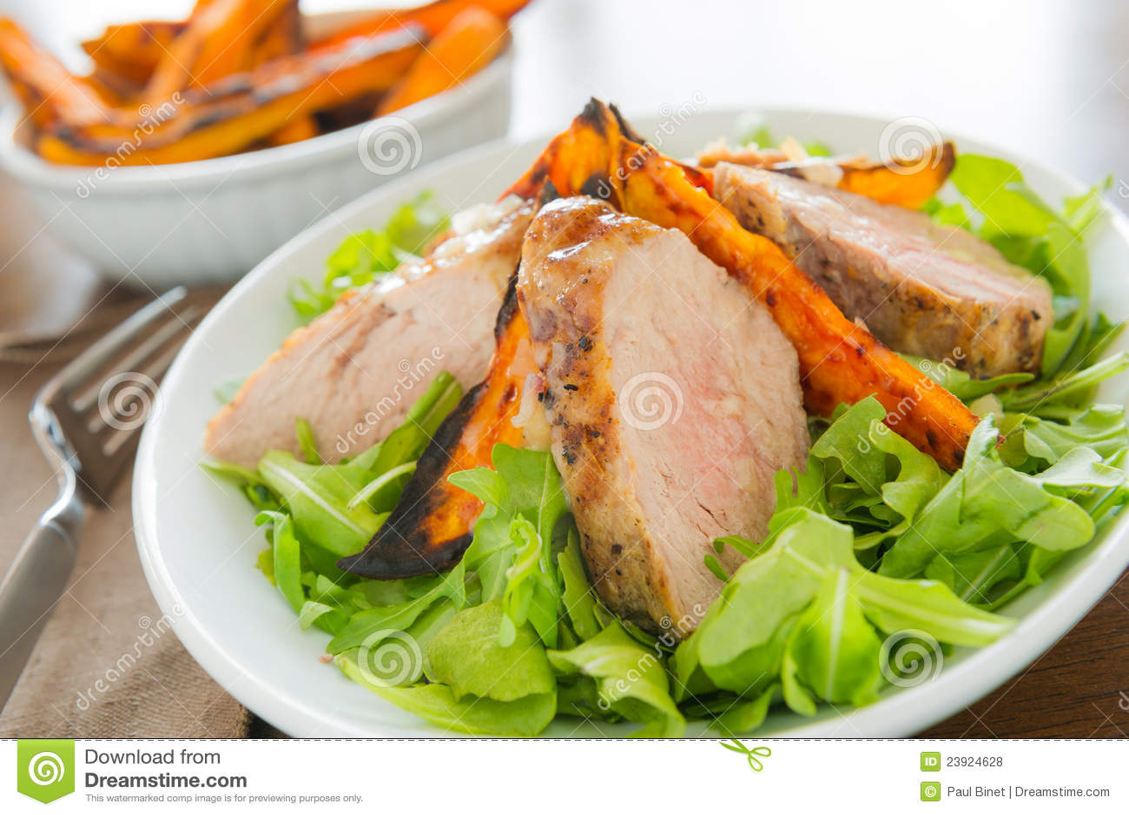 Healthy pork fillet meal