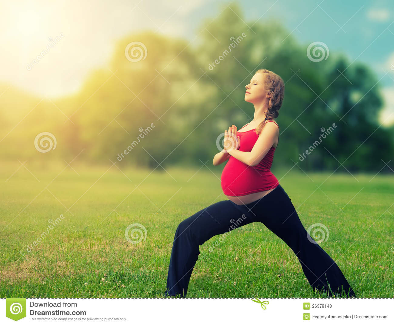 Healthy Pregnant Woman Doing Yoga In Nature Stock Photo 26378148
