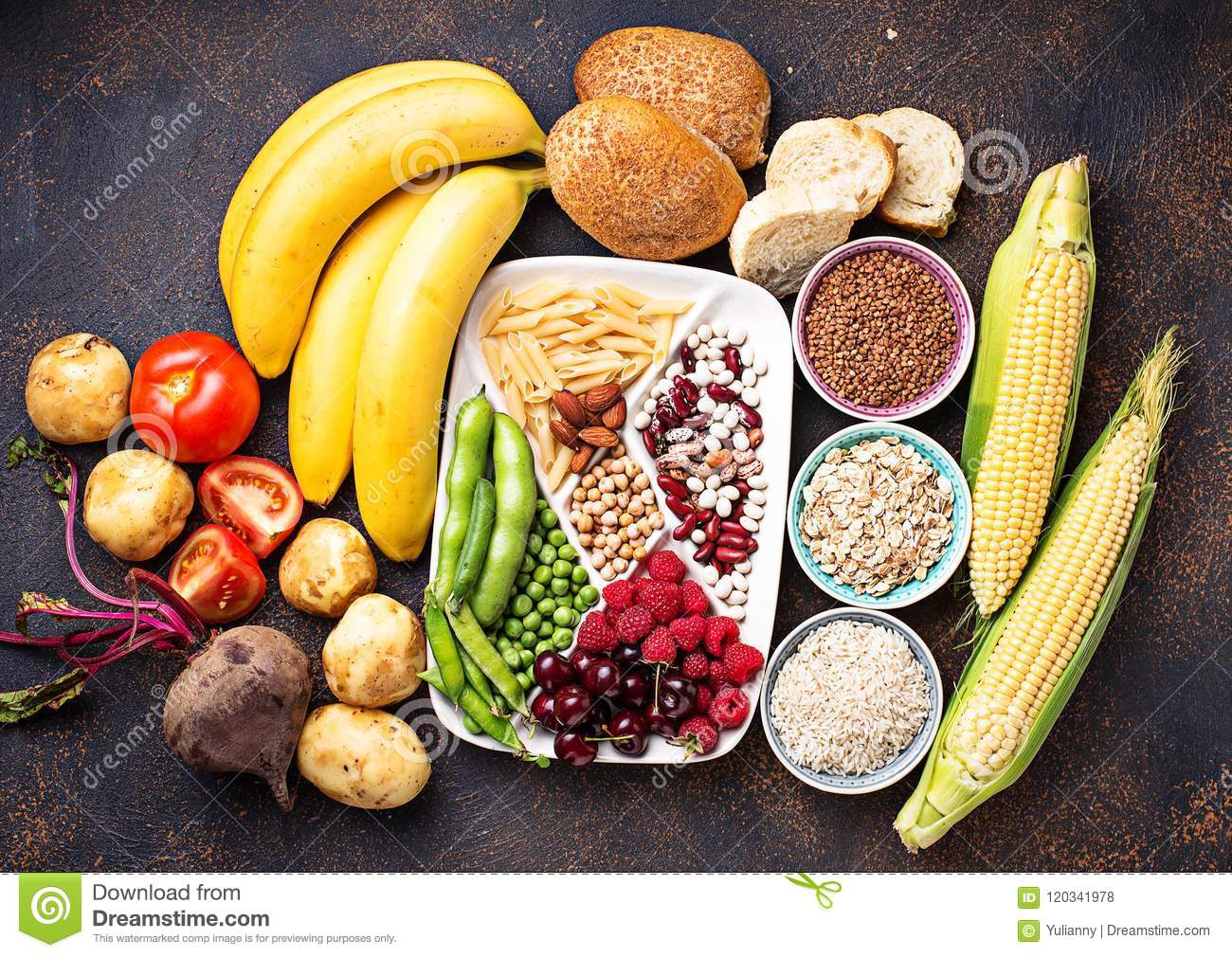 Healthy Products Sources Of Carbohydrates  Stock Photo