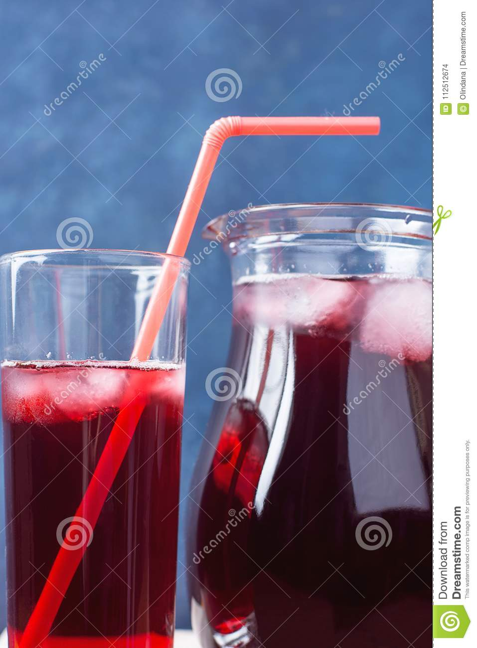 Healthy Refreshing Drink From Ice Hibiscus Tea And Red Berries And