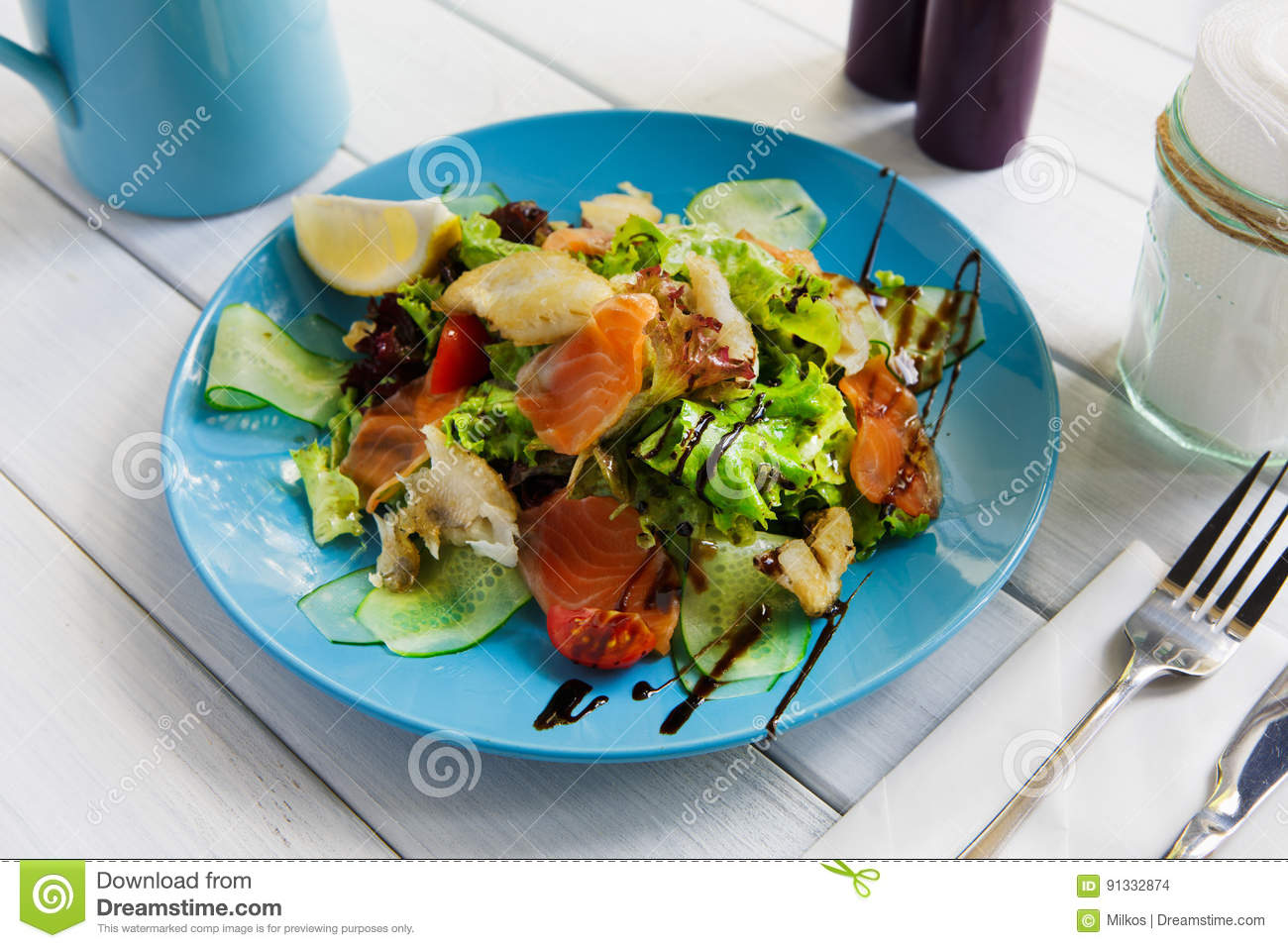 Healthy Restaurant Food Salmon And Cod Fish Salad Closeup Stock Photo Image Of Green Appetizer 91332874