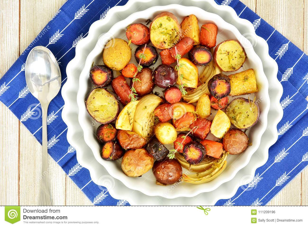 Roasted root vegetables from overhead