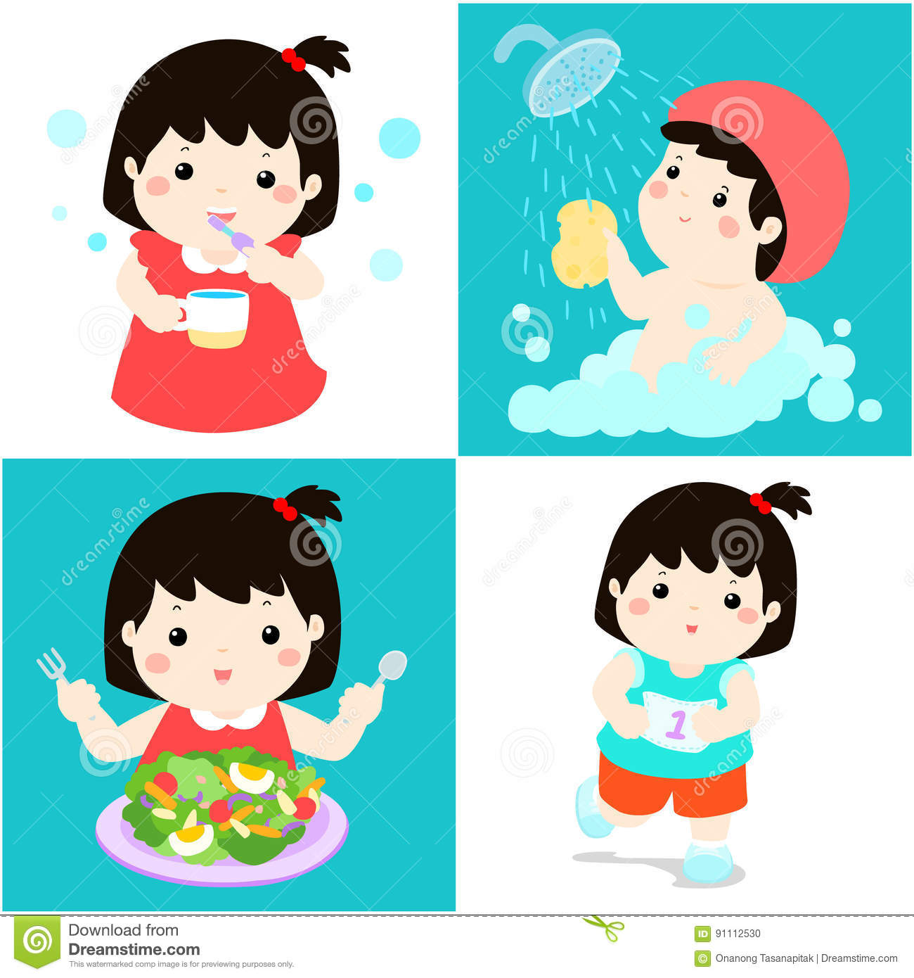 Daily Healthy Routine For Girl Cartoon Stock Vector -6655