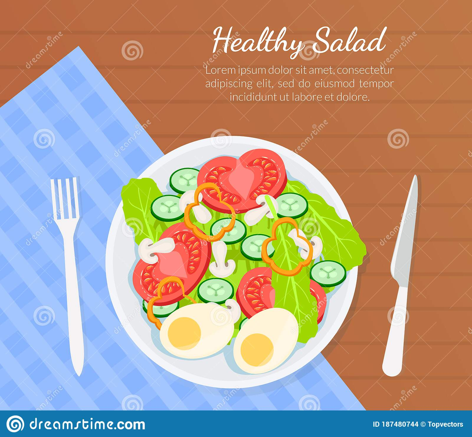 Healthy Salad Banner Template Top View Of Delicious Organic Food On Wooden Surface Vector Illustration Stock Vector Illustration Of Food Poster 187480744