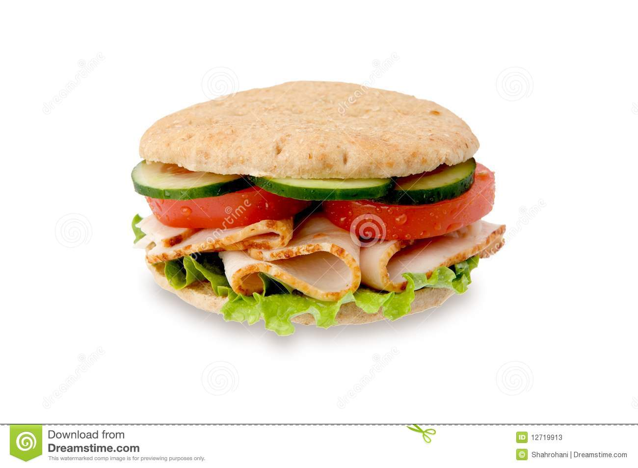 Healthy turkey sandwich isolated on white background.