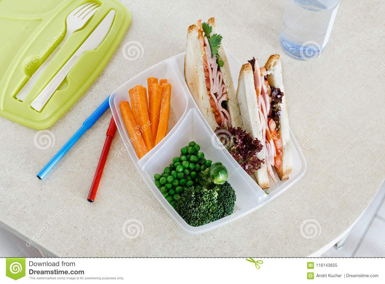 b2a40e76a1ba Healthy School Lunch Boxes Sandwich Vegetables Healthy Eating Stock ...