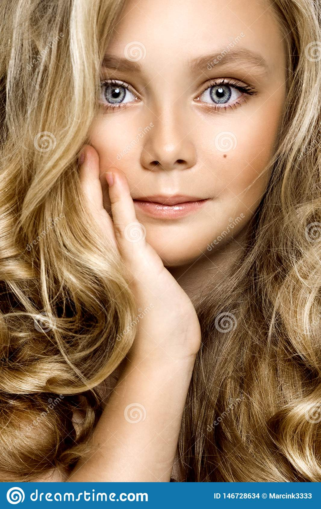 Healthy skin young blonde girl white skin no makeup beauty female model closeup - Obraz