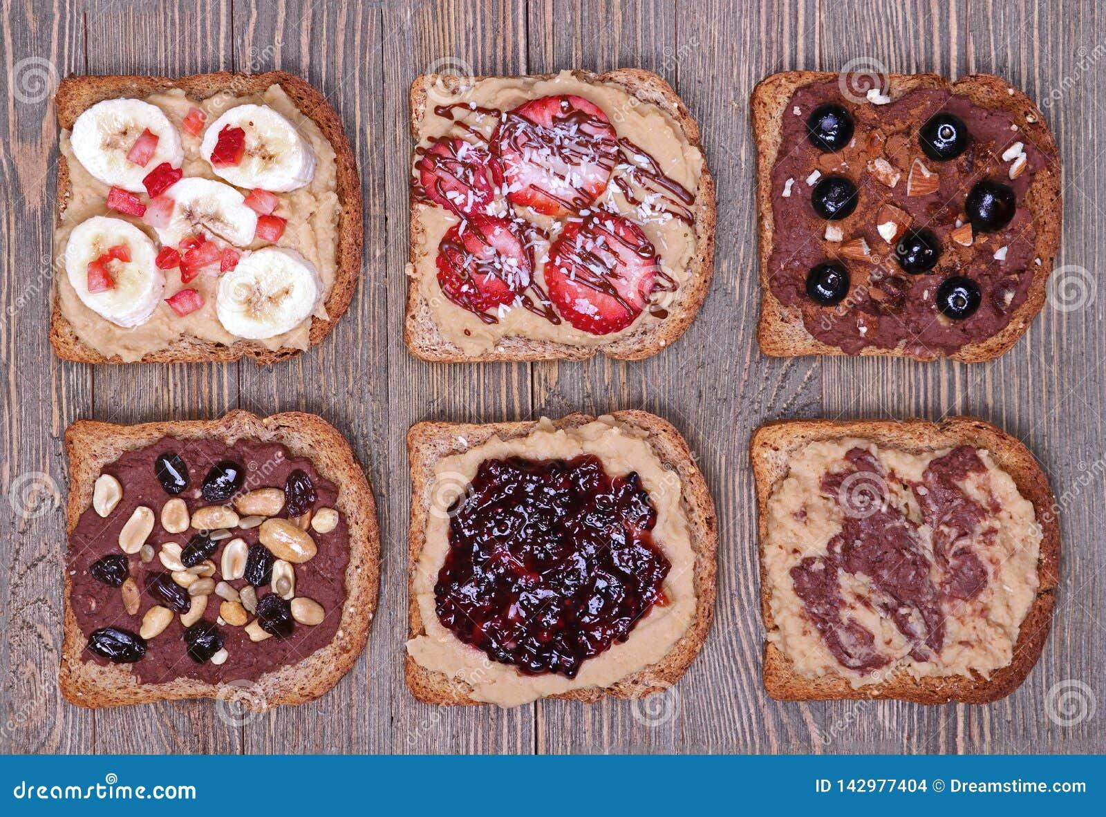 Healthy desserts on whole grain toast