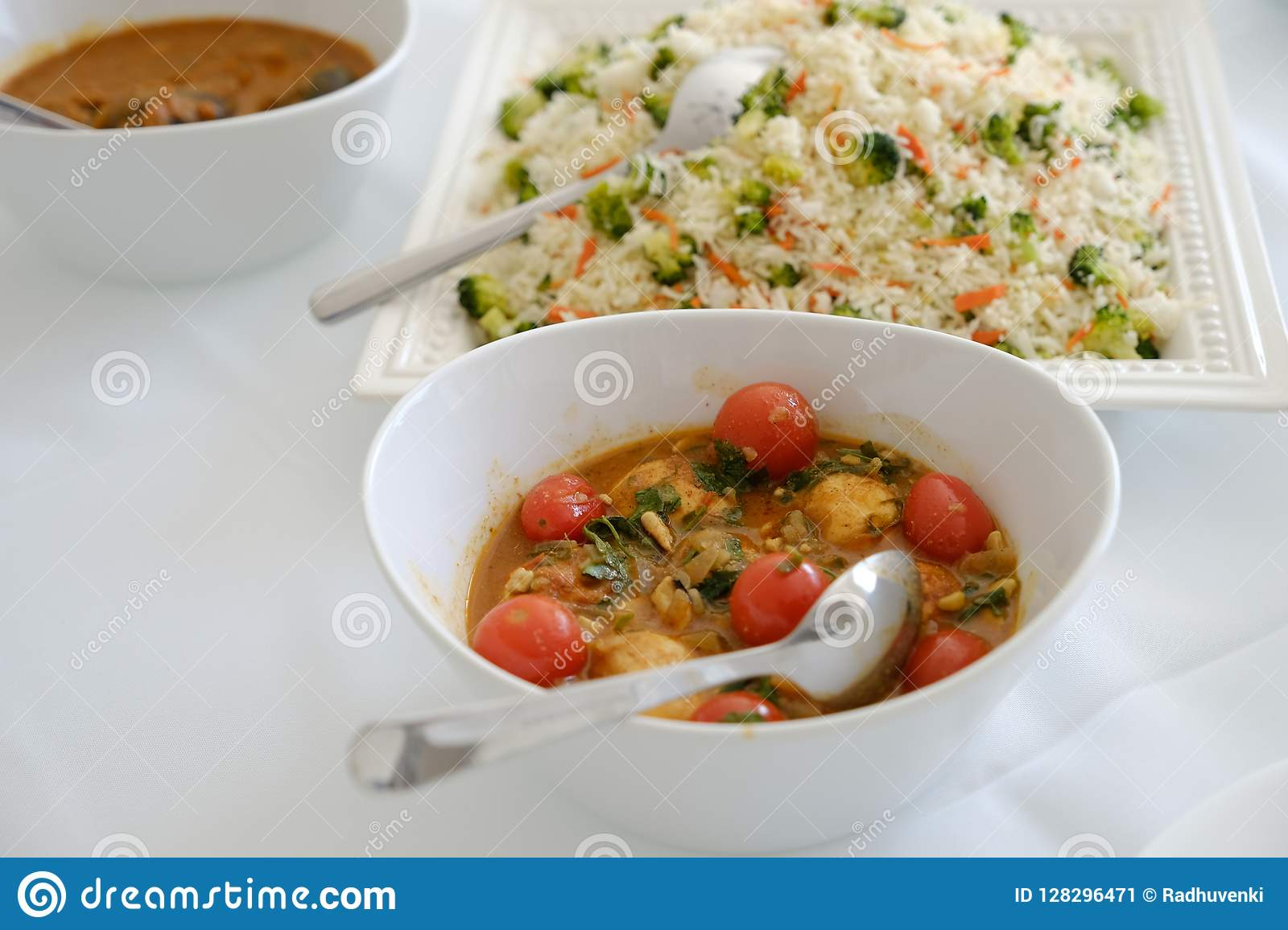 Healthy Spicy Vegetable Rice Indian Food In A Bowl With Side