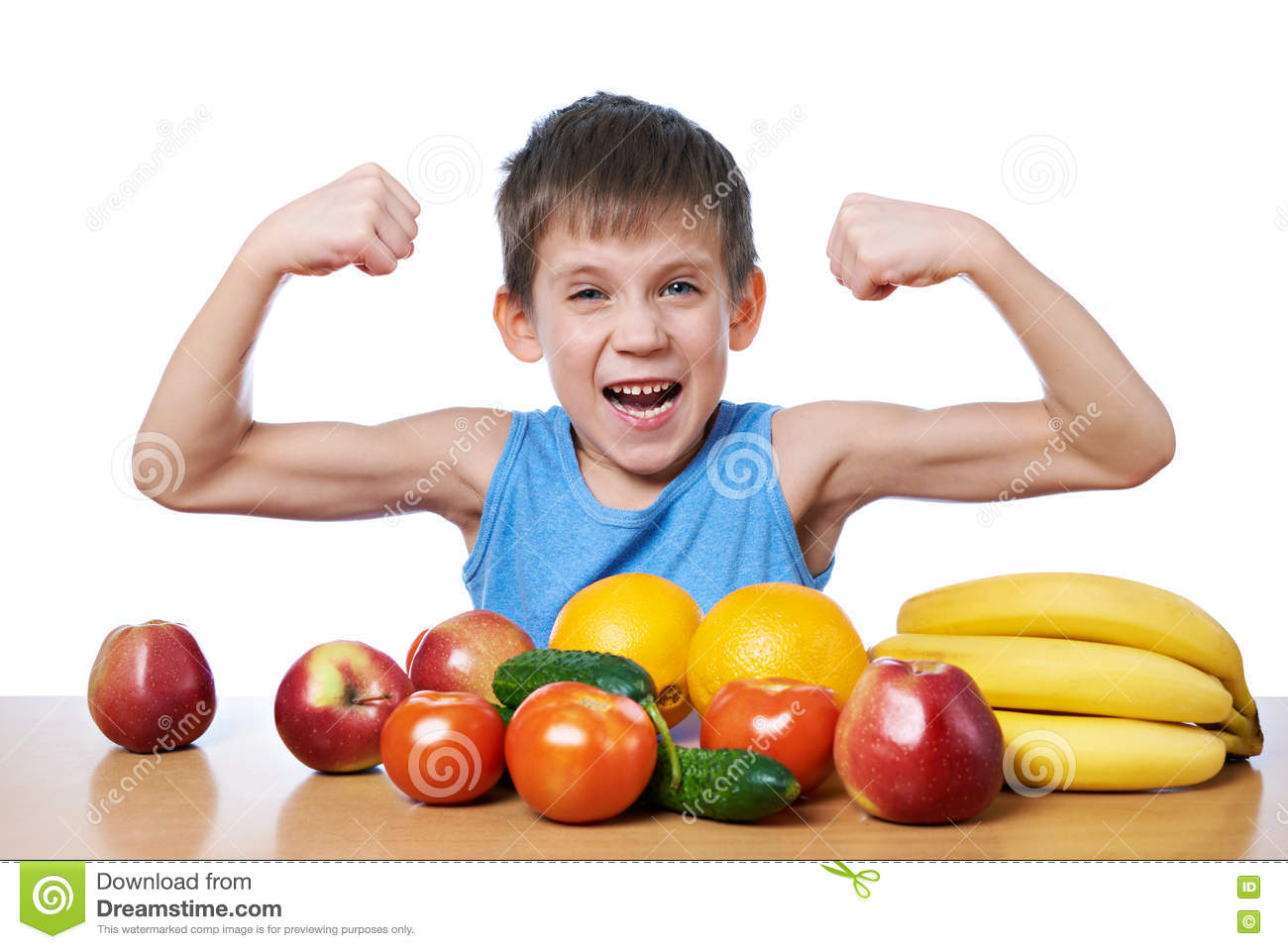 Healthy sporty boy with fruits and vegetables isolated