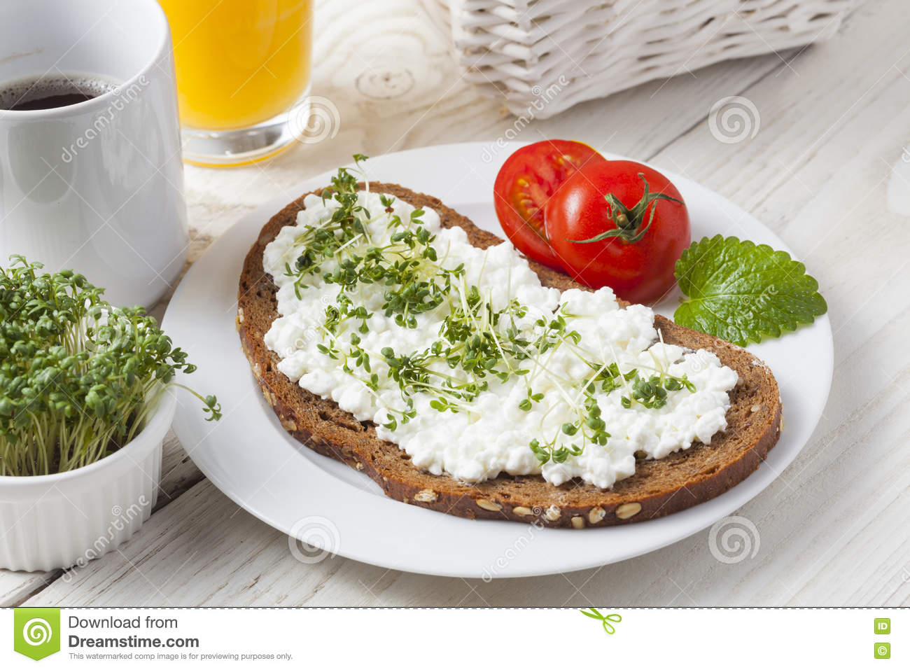 Healthy Spring Summer Low Fat Breakfast Stock Photo Image Of