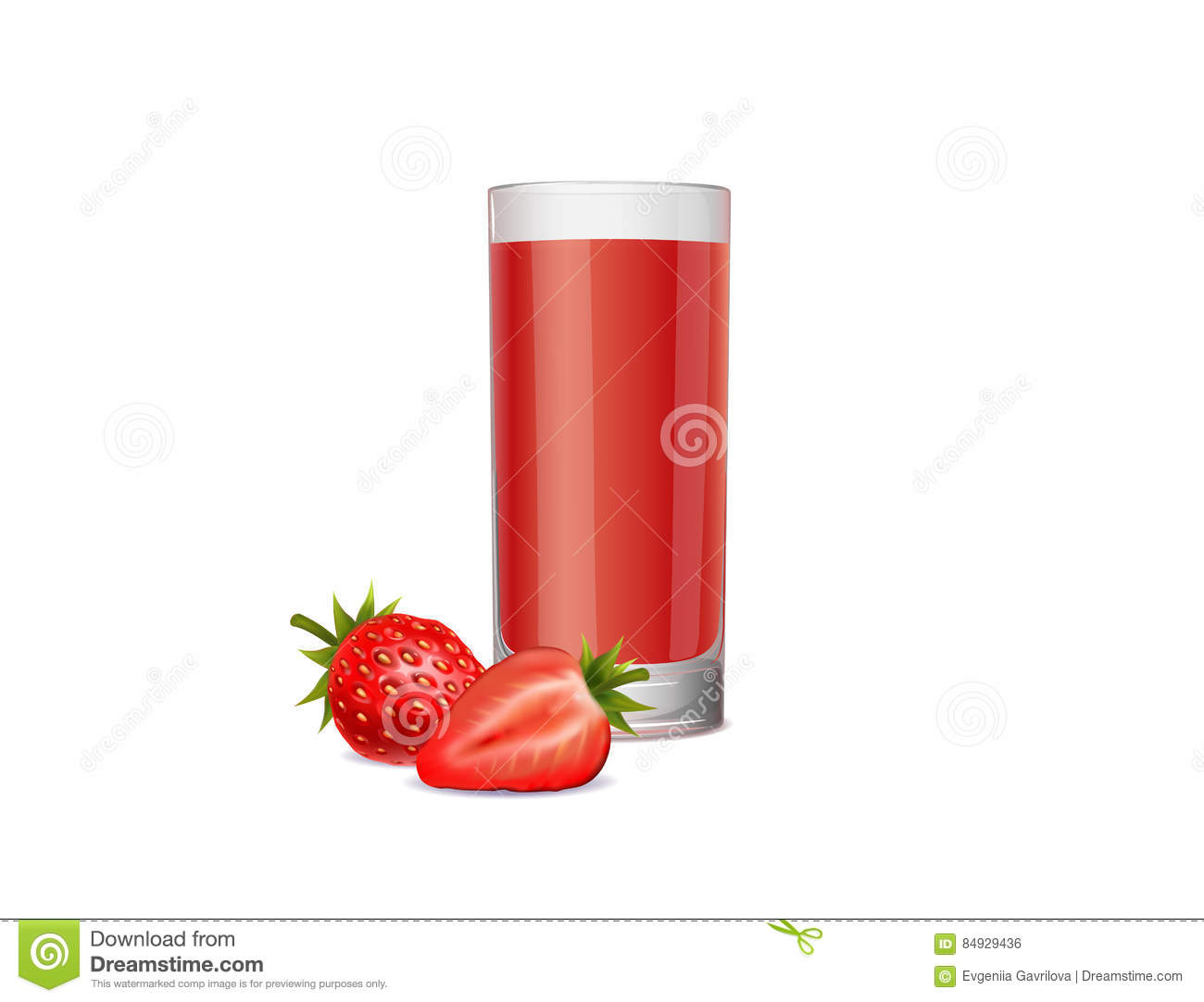 Healthy strawberry juice on a white background
