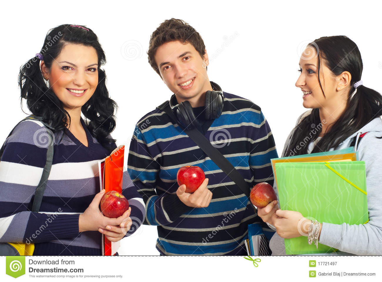 Healthy Students Holding Apples Royalty Free Stock