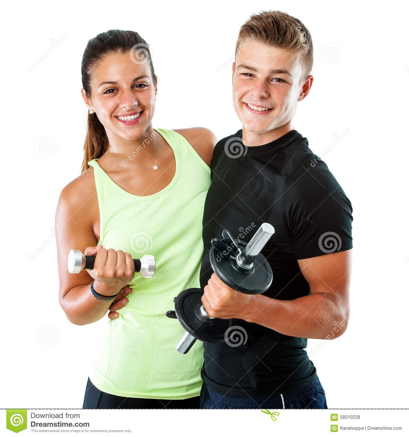 Healthy Teen Couple With Weights. Stock Photo - Image