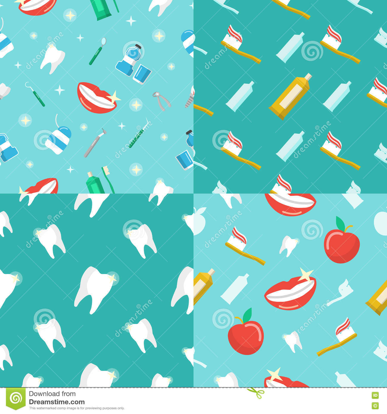 Healthy Teeth Dental Seamless Pattern Set With Smile And ...