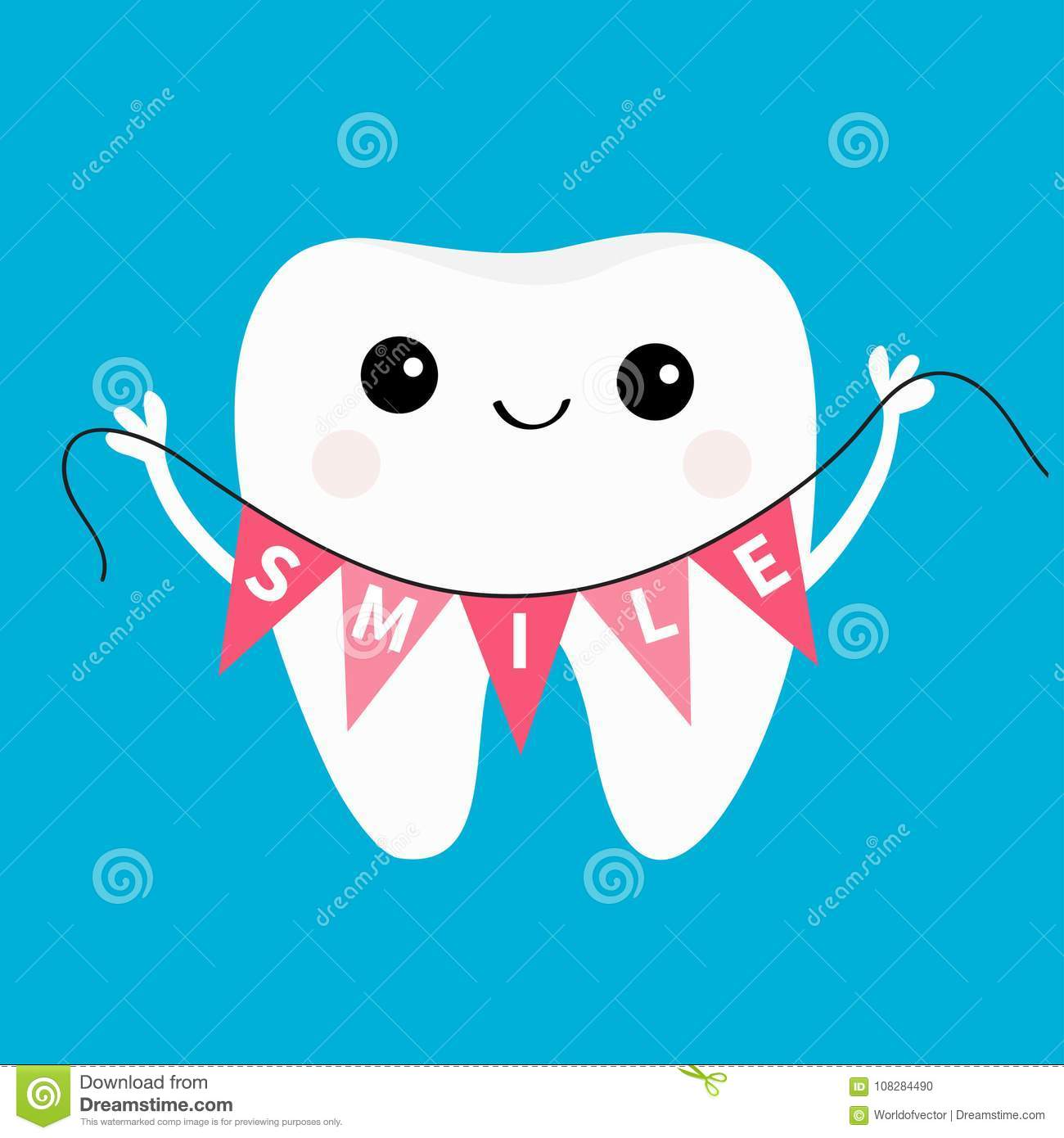 Healthy tooth icon holding bunting flag Smile. Oral dental hygiene. Children teeth care. Cute cartoon character. Smiling head face