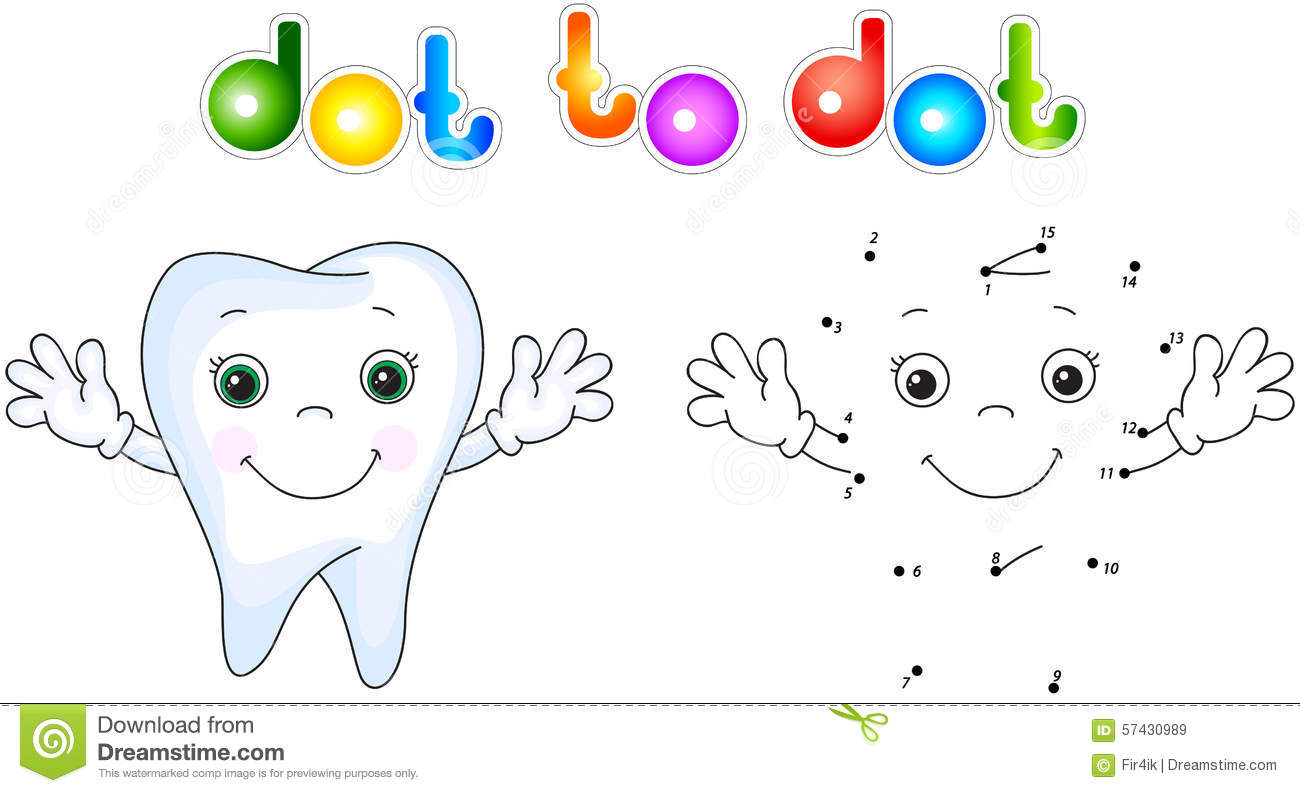 Healthy Tooth Smiling. Connect Dots And Get Image