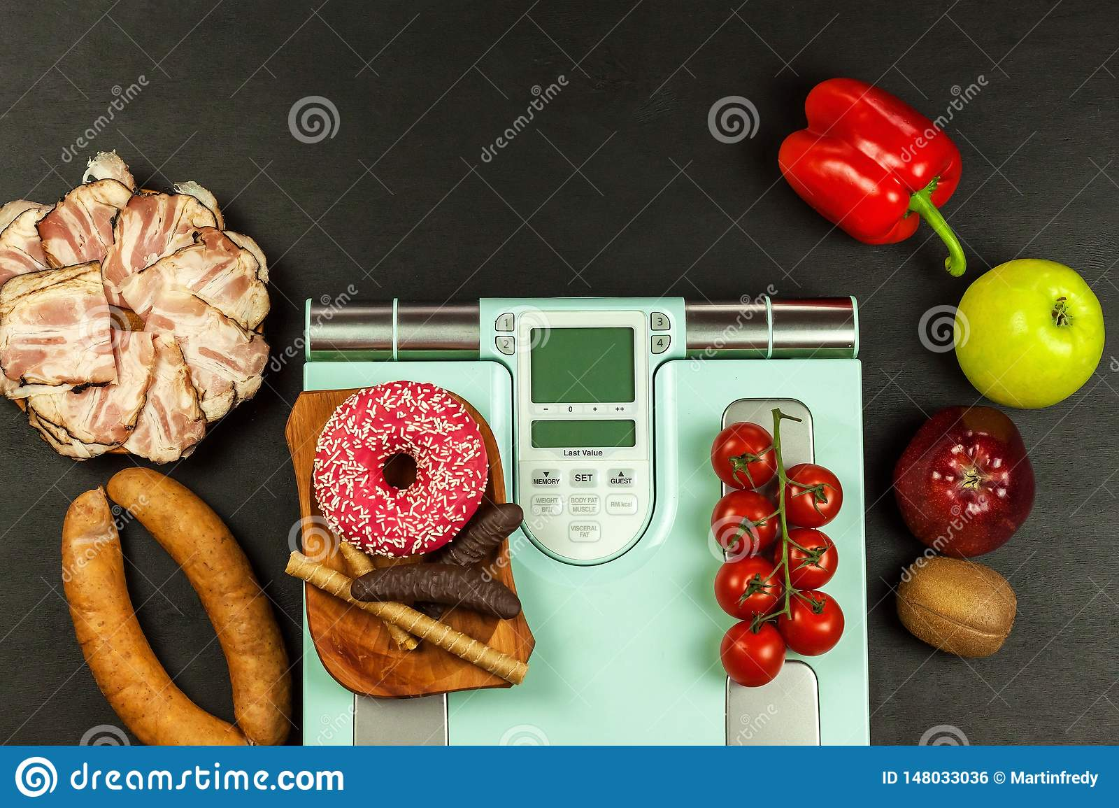 Healthy And Unhealthy Food  Obesity Concept  Modern Digital
