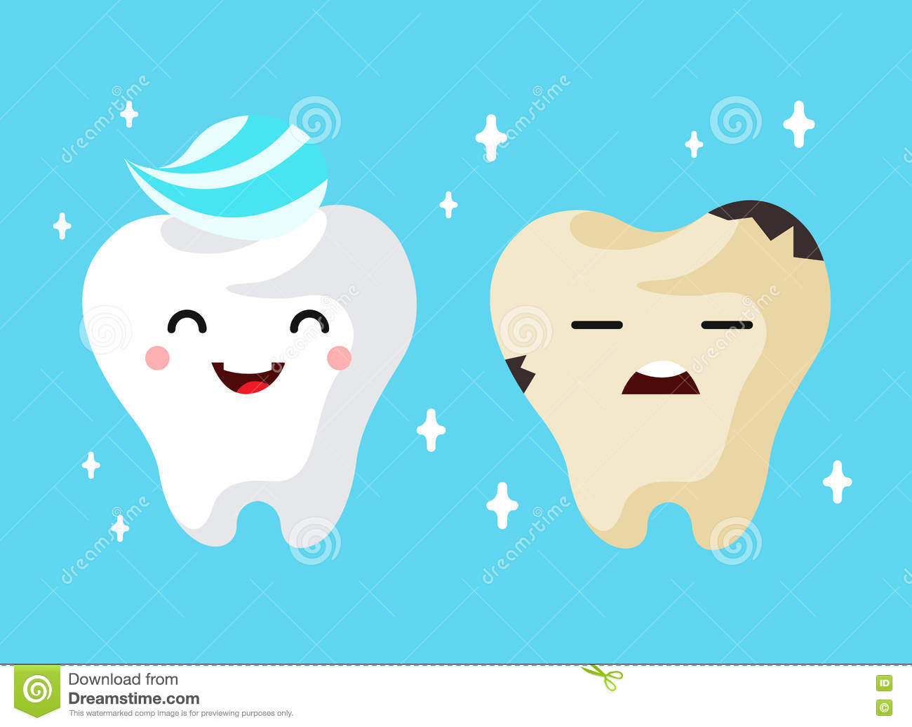 1 Toothed Cartoon Characters : Healthy and unhealthy sad tooth cartoon characters stock