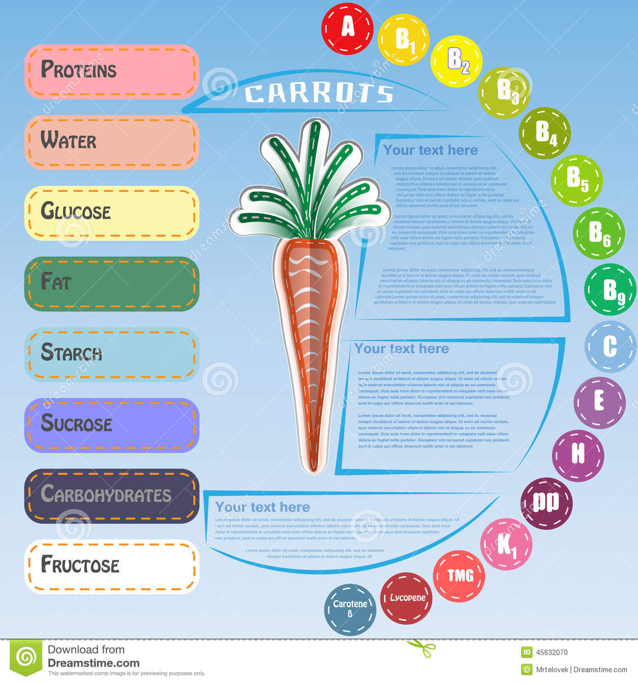 Healthy vegetable infographic with carrot stock for Cuisine healthy