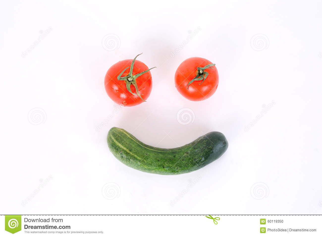 Healthy with vegetable ,smilling vagetable with cucumber and tom