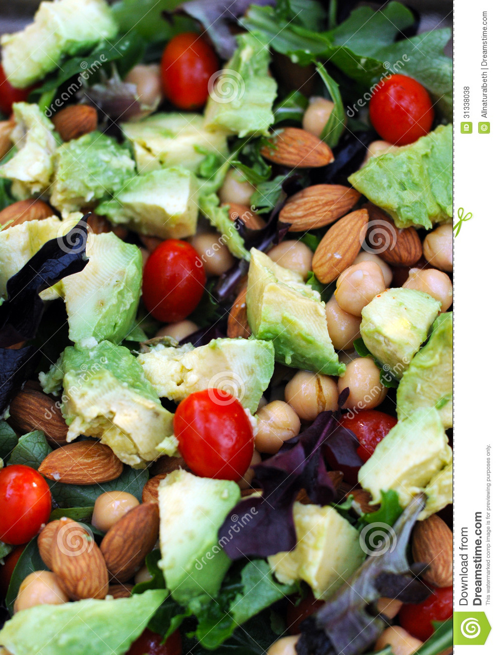 Healthy Vegetarian Salad With Nuts And Vegetables Royalty ...