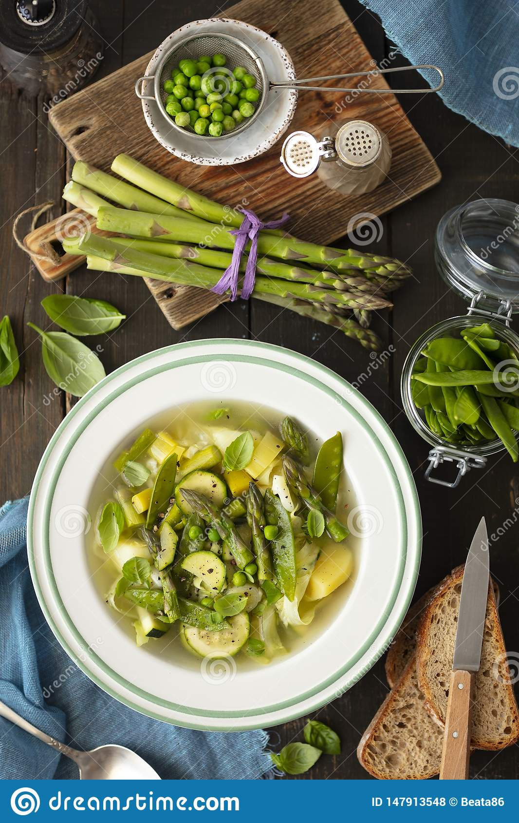 Minetsrone soup with potatoes, zucchini and asparagus