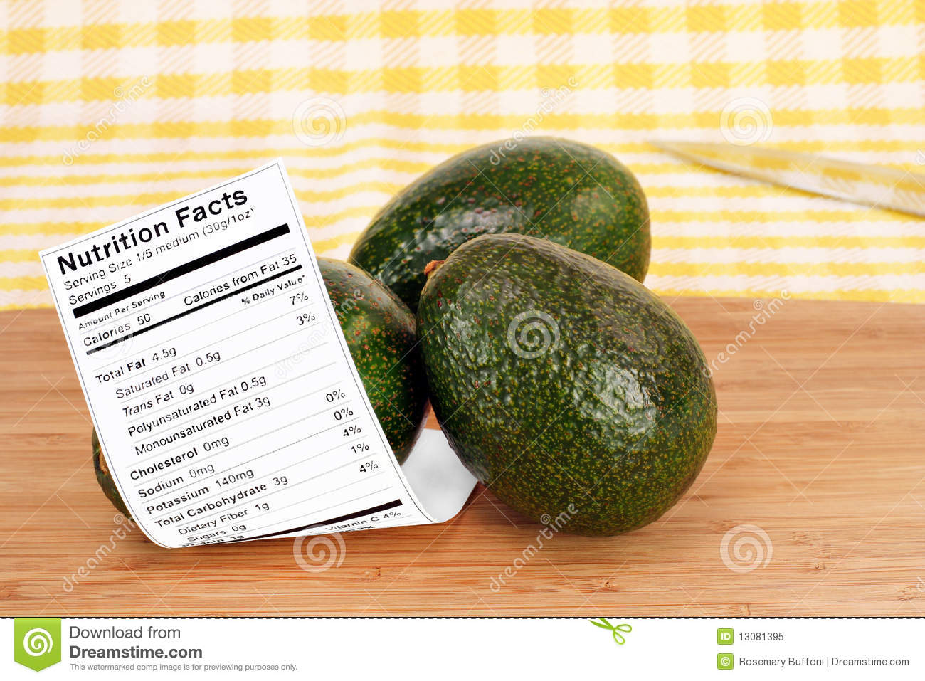 healthy whole avocados with nutrition label stock image - image of