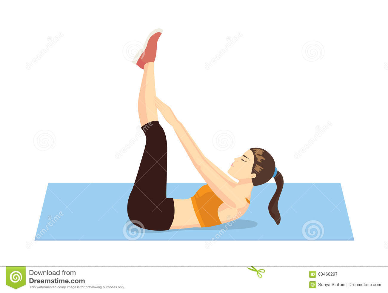 Healthy woman abdominal exercises stock vector image for Floor exercises for abs