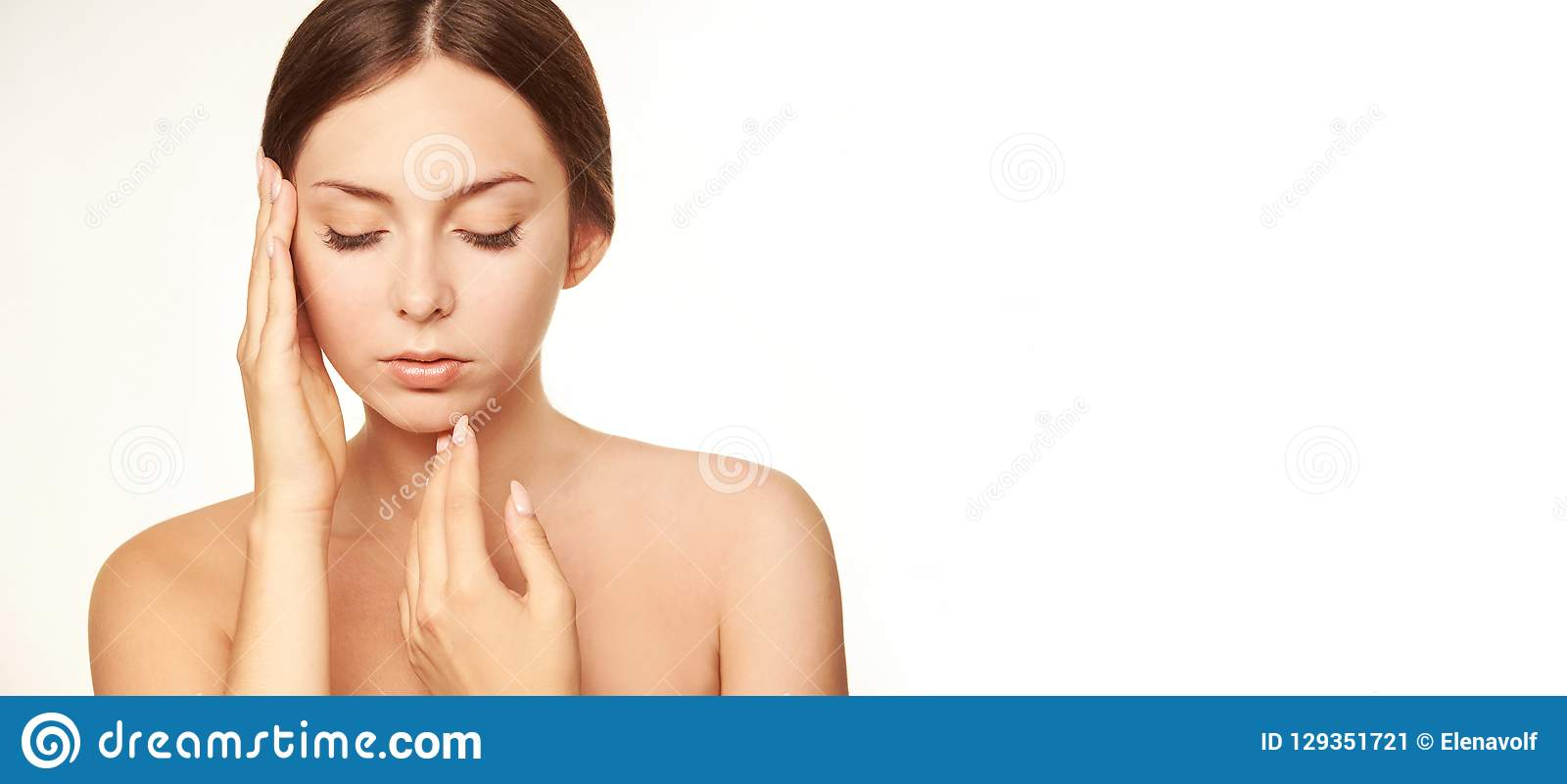 Healthy woman face. Young girl hand concept. Lotion cosmetics