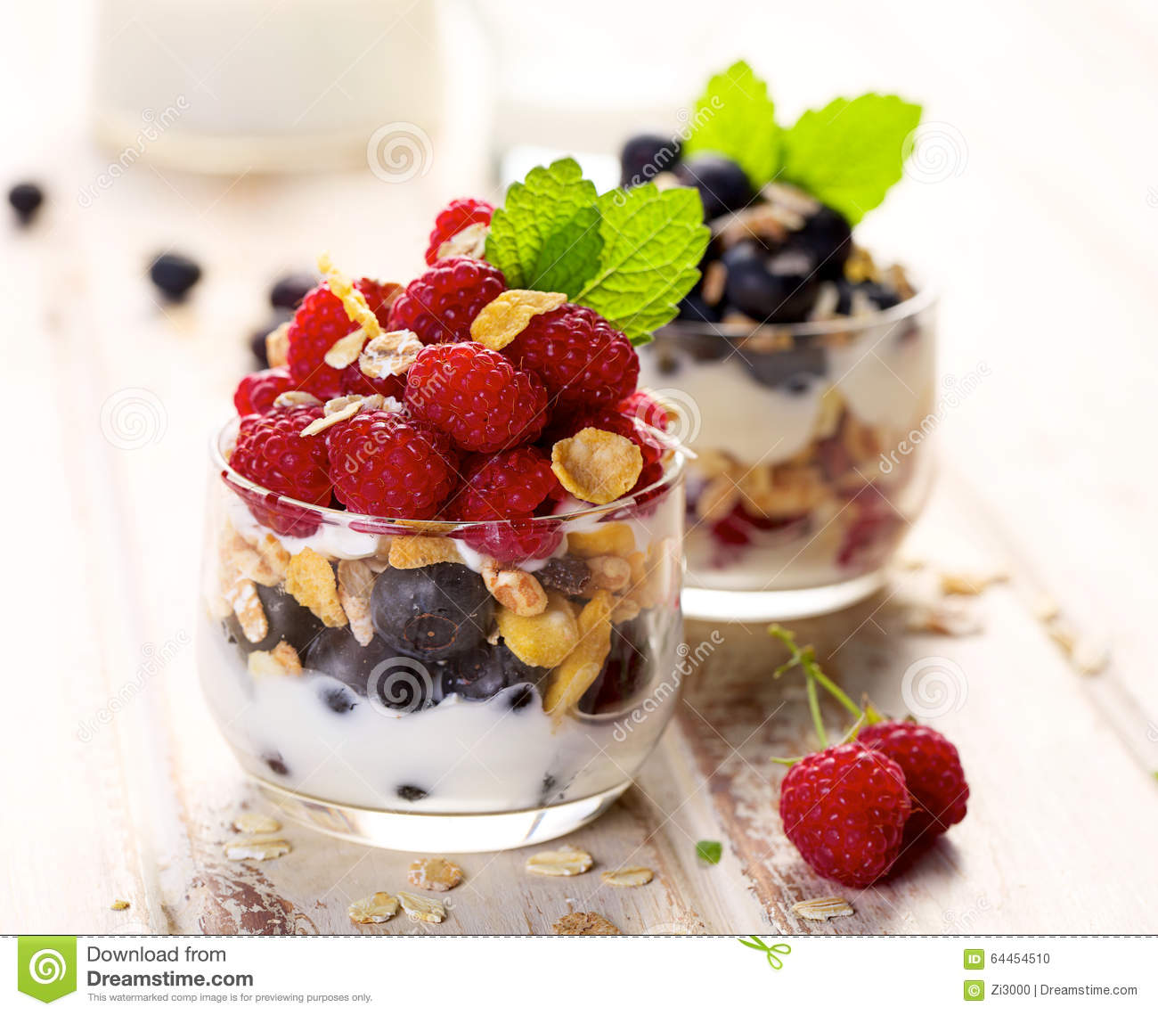 ... Breakfast Parfait With Blueberries & Granola Recipe — Dishmaps