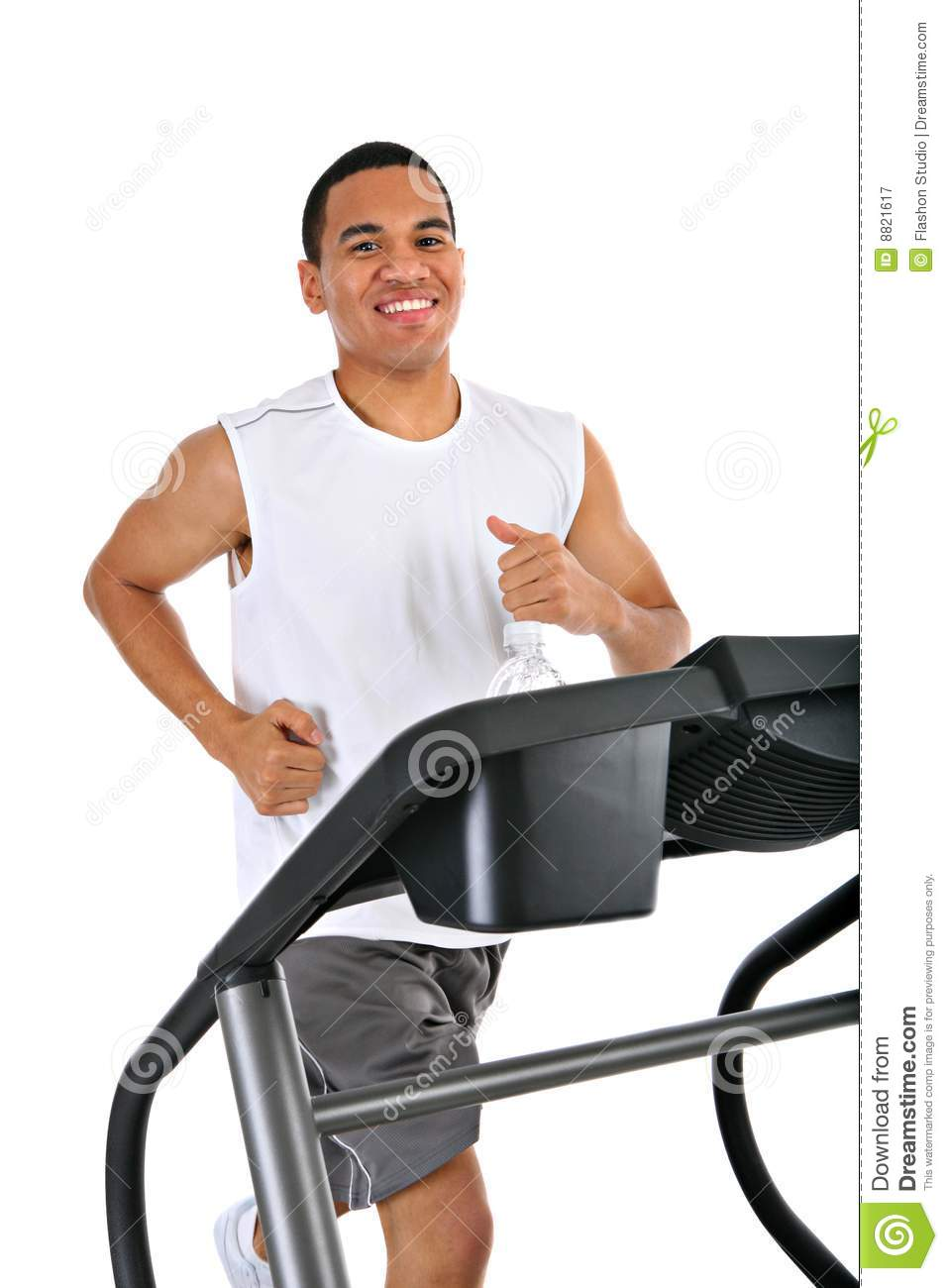 Healthy Young Man Running In Treadmill Stock Image Image