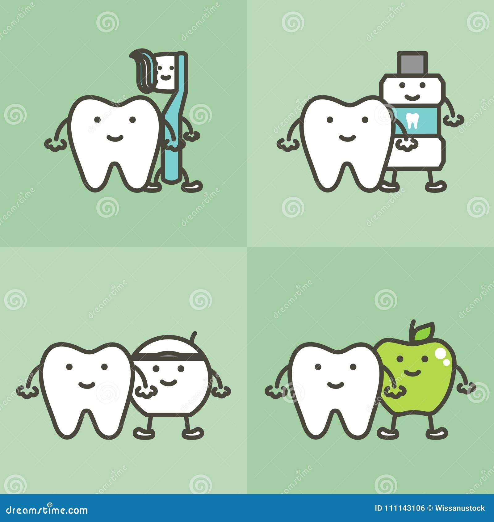 Healty tand och begrepp för bästa vän tandborste, tandkräm-, munvatten-, floss- och äpple-, tandvård- och hygien