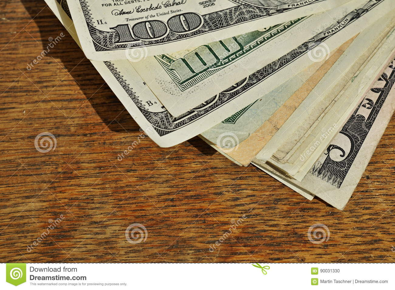 Heap Of American Money Us Currency Usd On The Wooden Background As