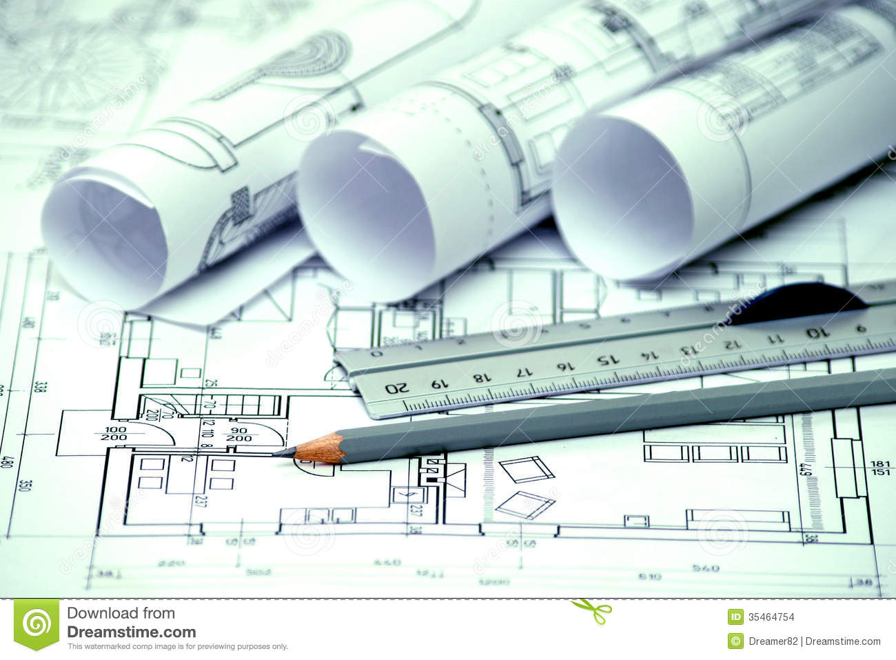 Heap of architectural design and project blueprints for Architecture design blueprint