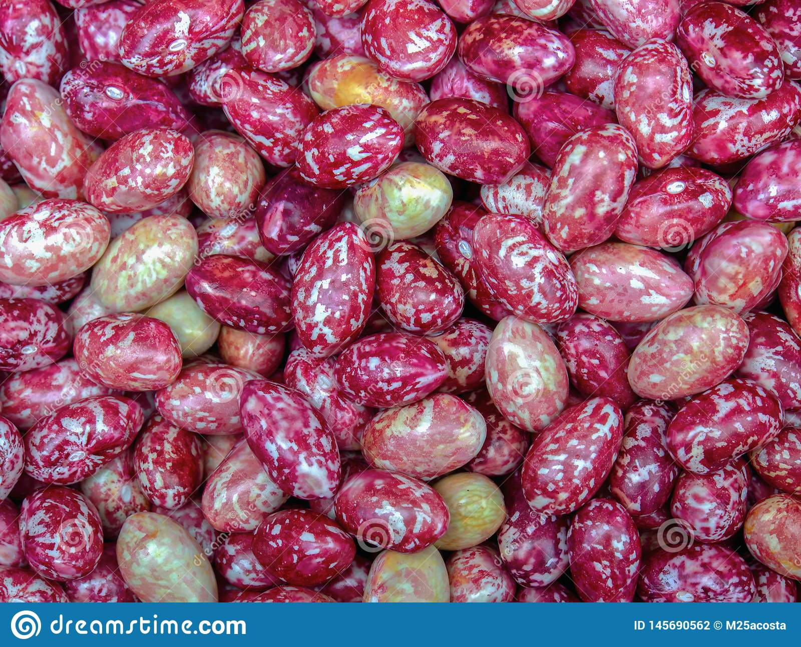 Heap of borlotti beans in a market