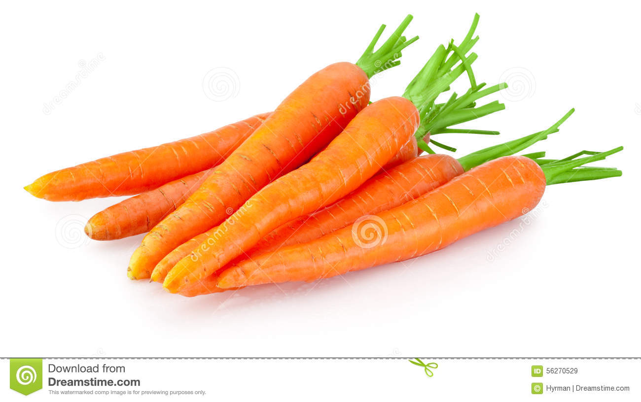 Heap of carrots vegetable isolated on white background