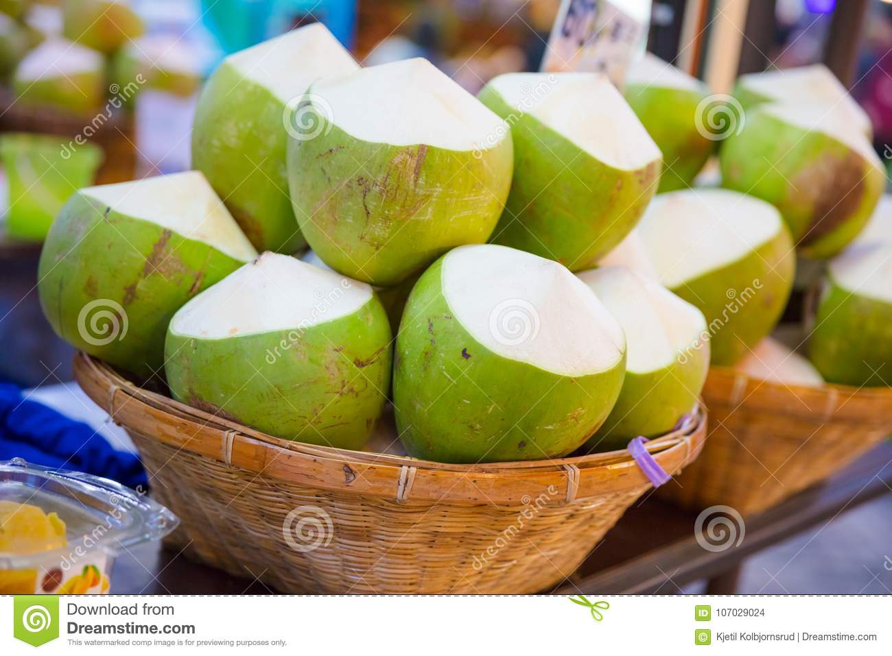 Coconuts For Sale At Street Market Stock Photo Image Of