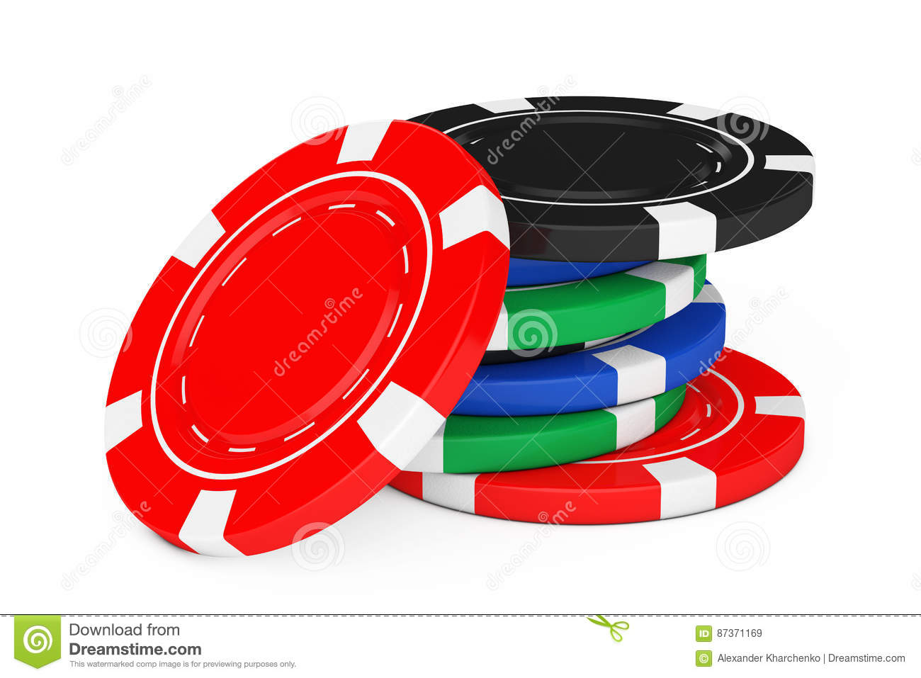Heap of Colorful Poker Casino Chips. 3d Rendering