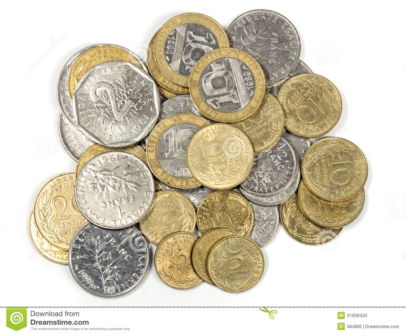 Heap Of French Francs Money Coins Stock Photo - Image: 31008420