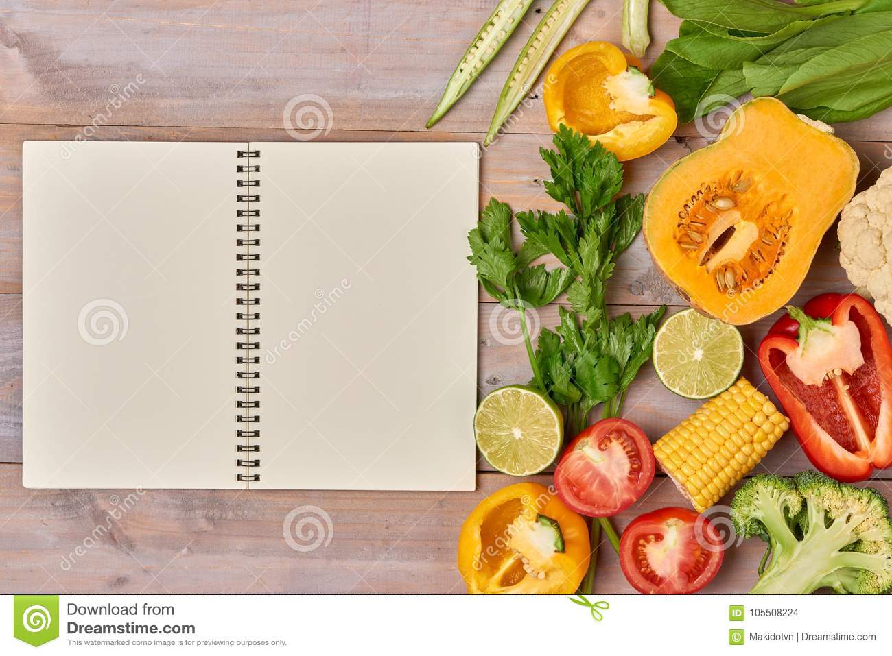 Heap Of Fresh Fruits And Vegetables On Wooden Background ...